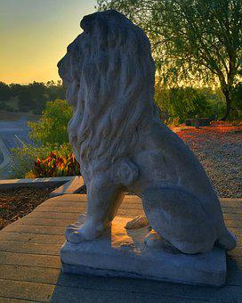 Lion, Statue, Dawn, Sculpture, Stone, Symbol, Design