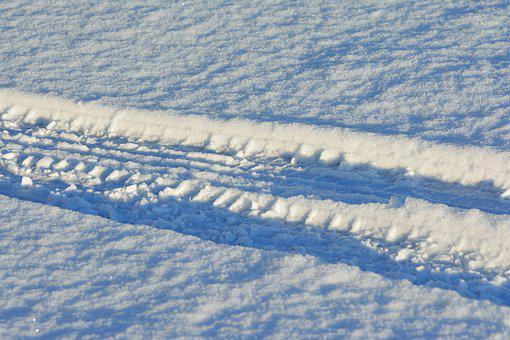 Snow, Snow Lane, Tire Track, Snowy, Winter, Reprint