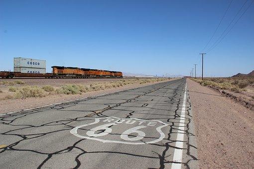 Route66, Train, America, Usa, Asphalt, Cracks