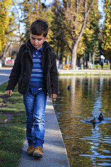 Toddler Walking By The Water, Toddler In The Park, Park