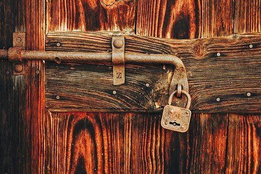 Door, Lock, Padlock, Wood, Wooden, Still Life, Old