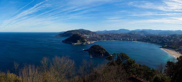San Sebastian, Bay, Beach, Island, Sea, Sky, Water