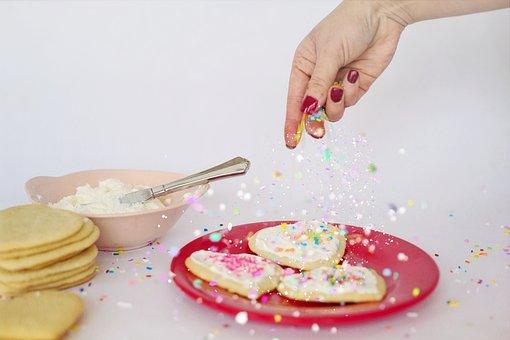 Cookies, Baking, Sprinkles, Cookie Decorating, Food