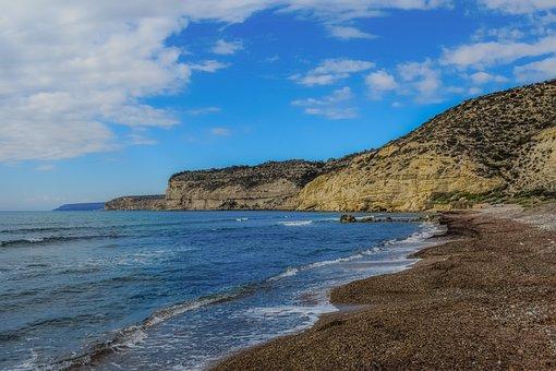 Beach, Sea, Landscape, Coast, Cliffs, Winter, Empty