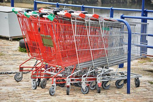 Carts, Supermarket, Grocery Shopping, Metal, Red