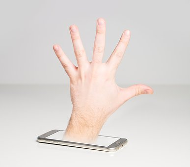 Hand, Mobile Phone, Cell Phone, Display, Through