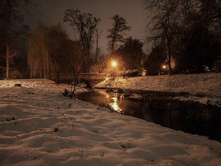 Winter, Snow, Night, Wintry, Landscape, Snowy, Nature