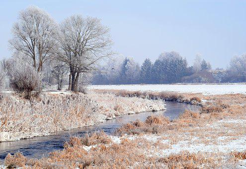 Winter, River, Nature, Snow, Hoarfrost, Wintry, Water