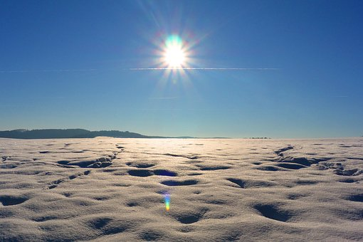 Snow, Desert, Sun, Rays, Snow Desert, Lonely, Landscape