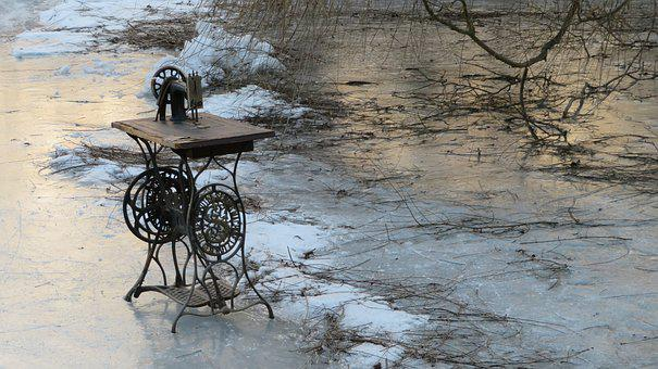 Cold, Lake, Winter, Frozen, Frost, Sewing Machine