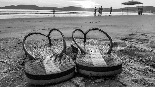 Black And White, Beach, Sand, Morning, Dawn, Summer