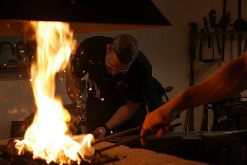 Fire, Forge, Glow, Flame, Craft, Hot, Heiss, Hammer