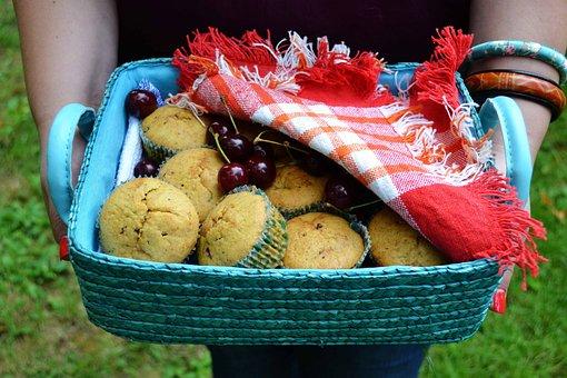 Muffins Basket, Hands Holding Food Basket, Muffins