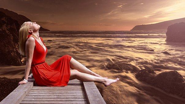 Spa, Meditation, Model, Red, Dress, River, Sun, Rays