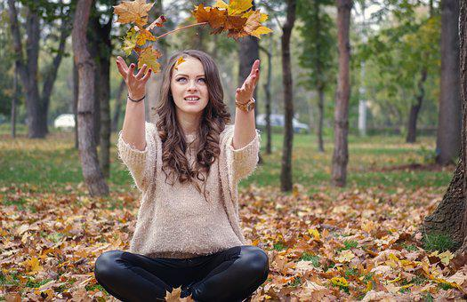 Beautiful Girl, In The Park, Throwing Leaves