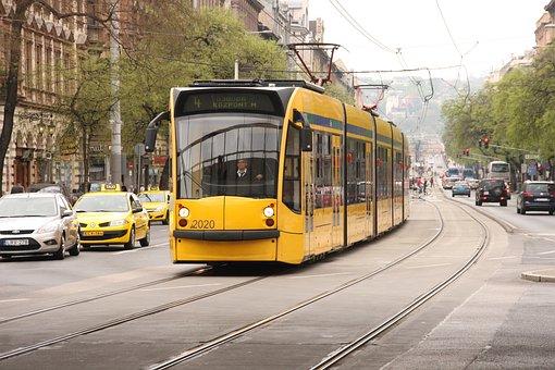 Tram, Budapest, Hungary, Nyugati Palyaudvar, Train