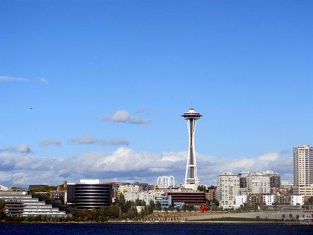 Seattle, Skyline, Space, Needle, Washington, State