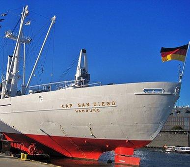 Cap San Diego, Ship Rear, Hamburg Museum Ship