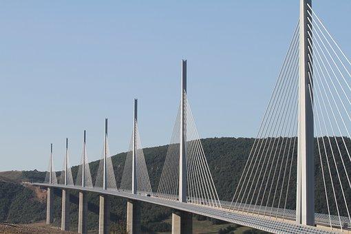 Viaduct, Millau, Bridge, France, Cables, Highway