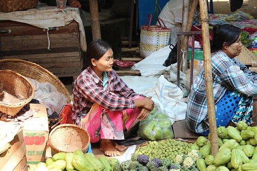 Myanmar, Burma, Market, Market Stall, Fruit, Vegetables