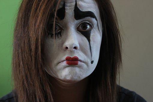 Mime, Brown Eyes, Face Painting, Make Up, Sad, Face