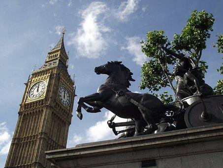 Big Ben, London, Sky, Boudica's Horse, Statue, Uk