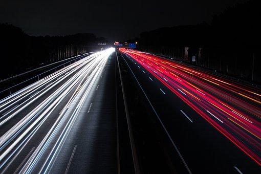 Traffic, Lights, Night, Highway, Motion, Traffic Light