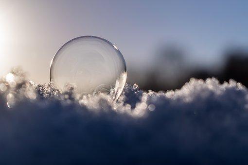 Soap Bubble, Sun, Blue, Orange, Yellow, Gold, Ice