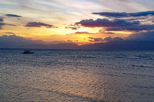 Moalboal, Cebu, Philippines, Beach, Sunset, Coast