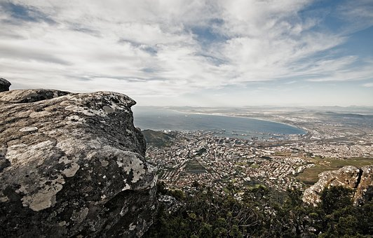 City, Cityscape, Rock, Mountain, Port, Ocean, Water