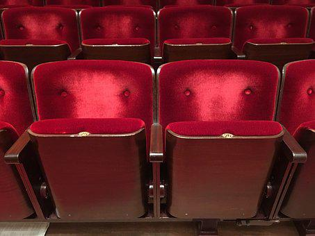 Chairs, Plush, Cinema, Theatre, Concert, Show, Red
