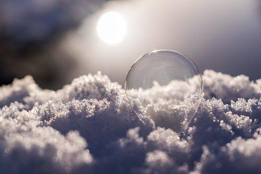 Soap Bubble, Snow, Frozen, Ice, Cold, Winter