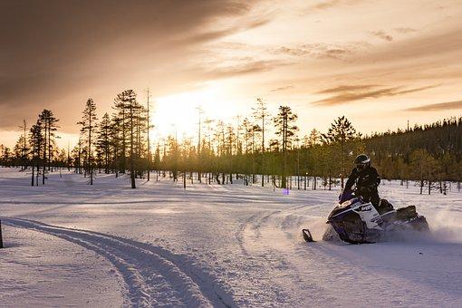 Lapland, Polar Winter, Snowmobile, Winter, Sport