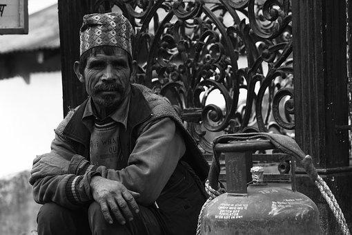 Poor, Old, Man, Poverty, Waiting, Helpless