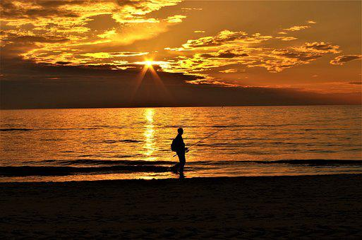 Angler, Sea, Sunset, Lonely