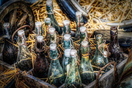 Bottles, Beer Bottles, Box, Old, Plop, Snap Lock