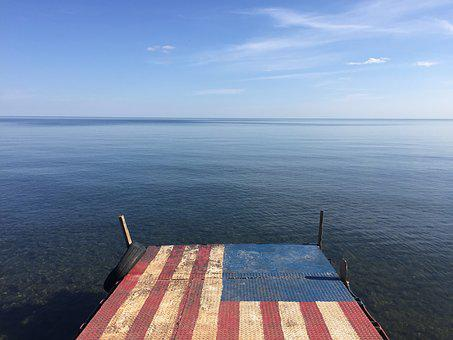 America, American Flag, Water, Lake, Dock, Sky, Clouds