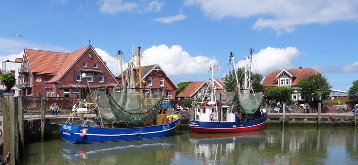 Port, Cutter, Fishing Boat, East Frisia, North Sea