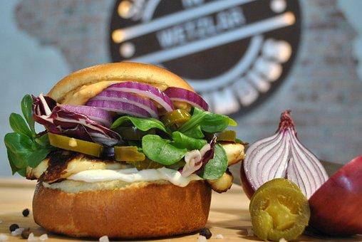 Burger, Cheese, Vegetarian, Halloumi, Fast Food