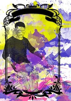 Surprise, Man, Guy, Bike, European, Portrait