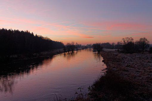 Sunrise, River, Morning, Winter, Nature, Cold, Lubuskie
