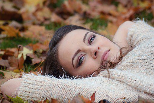 Girl Lying Down, Autumn Park Portrait, Girl In The Park