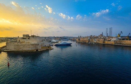 Malta, Harbor, Sunrise, Sunset, Bay, Valletta, Sky