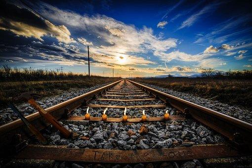 Railway, Landscape, Candles, Track, Sky, Cloud, Chisel