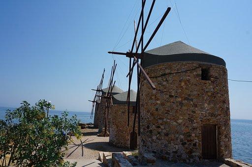 Greece, Chios, Mill, Blue Sky, Sea, Nature, Wicks