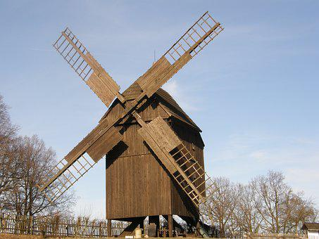 Windmill, Post Mill, Wind, Wind Power, Mill, Nostalgic