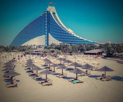 Dubai, Hotel, Beach, Bathing, Sunbathing, Water