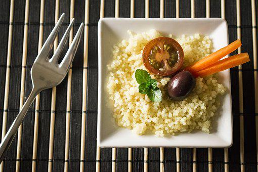 Cuscus, Tomato, Olive, Carrot, Fork, Food Mint, Pact