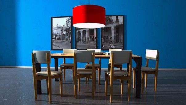 Living, Blue, Chairs, Wallpaper, Decor, Colors