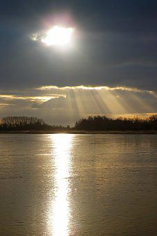 Water, Lake, Clouds, Sun, Dramatic, Sparkle, Mirroring